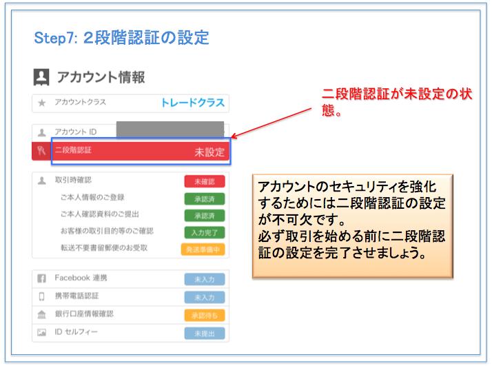 bitFlyer(ビットフライヤー) 口座開設方法 2段階認証が未設定の状態の画面