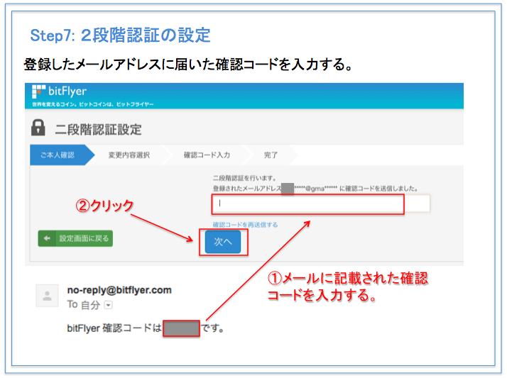 bitFlyer(ビットフライヤー) 口座開設方法 2段階認証の設定方法 確認コード入力