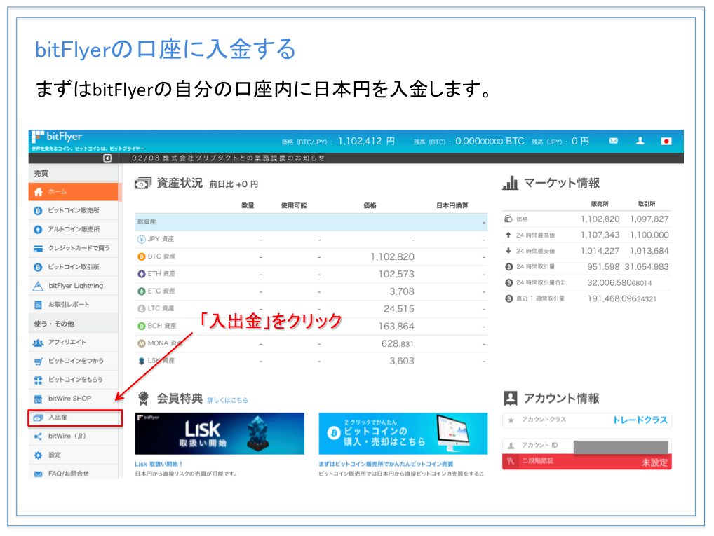 bitFlyer(ビットフライヤー )口座への入金方法
