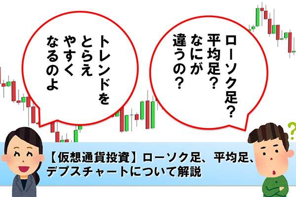 【仮想通貨投資】ローソク足、平均足、デプスチャートについて解説