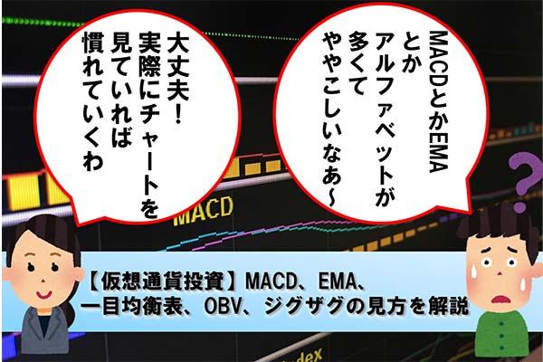【仮想通貨投資】MACD、EMA、一目均衡表、OBV、ジグザグの見方を解説
