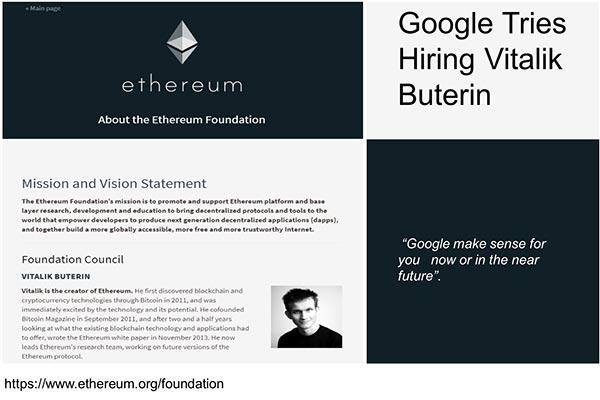 イーサリアム開発者のヴィタリック、グーグルからオファーを受けたと明かす