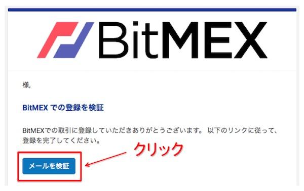 BitMEX口座開設登録の検証画面
