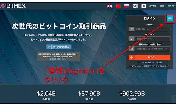 BitMEXトップ画面、登録ステップ