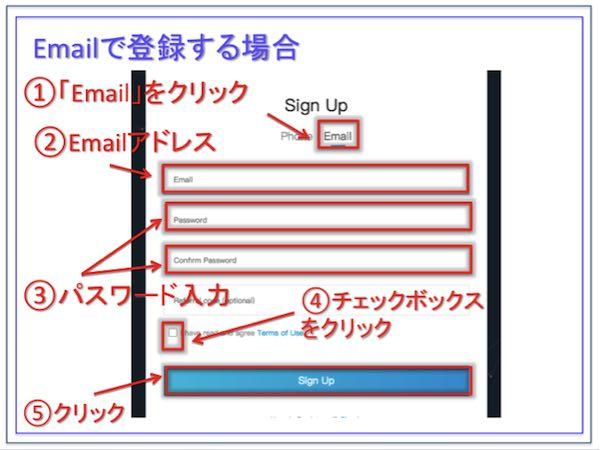 Bit-Z(ビットジー)、Emailでのサインアップ画面