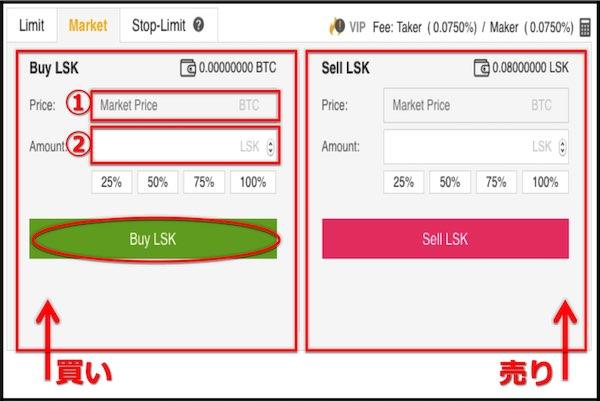 Binance LSK 購入画面