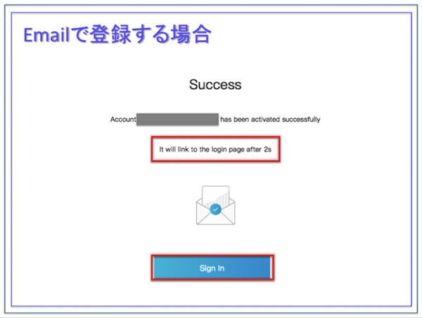 Bit-Z(ビットジー)、Email認証完了画面