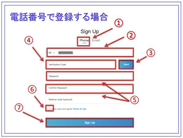 Bit-Z(ビットジー)、電話番号でのサインアップ画面