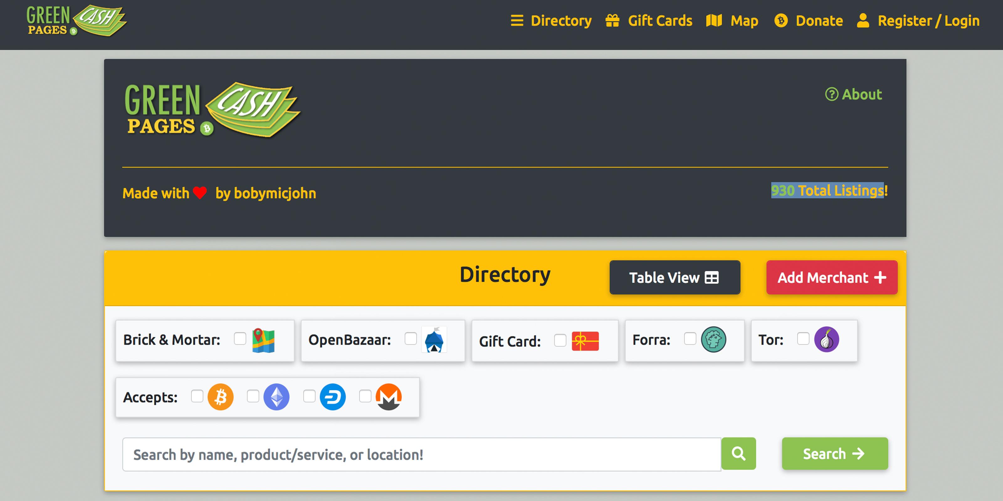 ビットコインキャッシュ (Bitcoincash/BCH)が使えるお店を探してくれる。